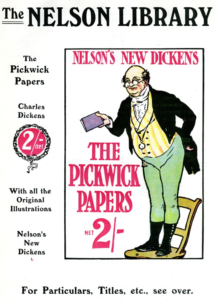 The book cover for Charles Dickens's first novel 'The Pickwick Papers.'