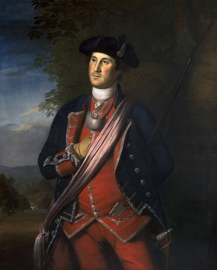 A portrait of George Washington in a military uniform.