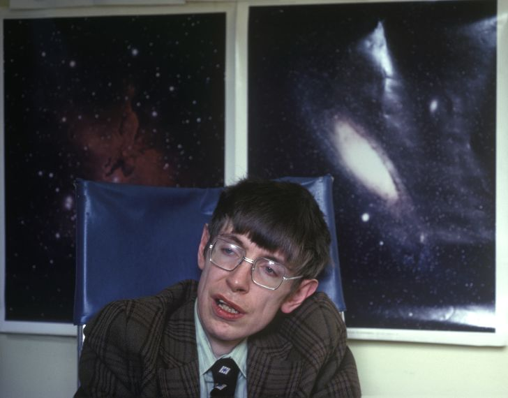 A photo of Stephen Hawking in his Cambridge office.