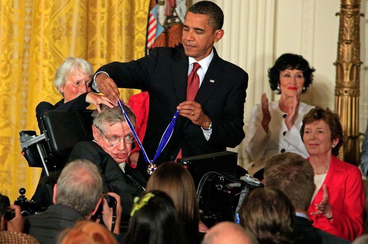 Barack Obama and Stephen Hawking.