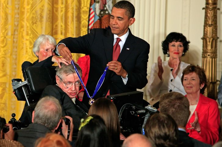 Barack Obama and Stephen Hawking.