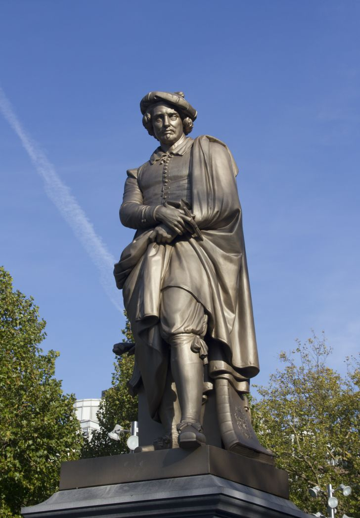 A statue of Rembrandt in Amsterdam, Holland.