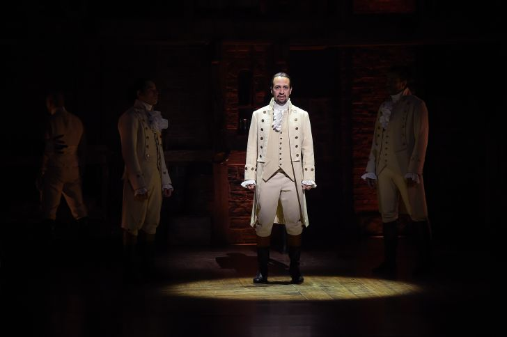lin-manuel miranda performing a number from hamilton for the grammys