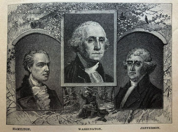 An illustration of Alexander Hamilton, George Washington, and Thomas Jefferson.