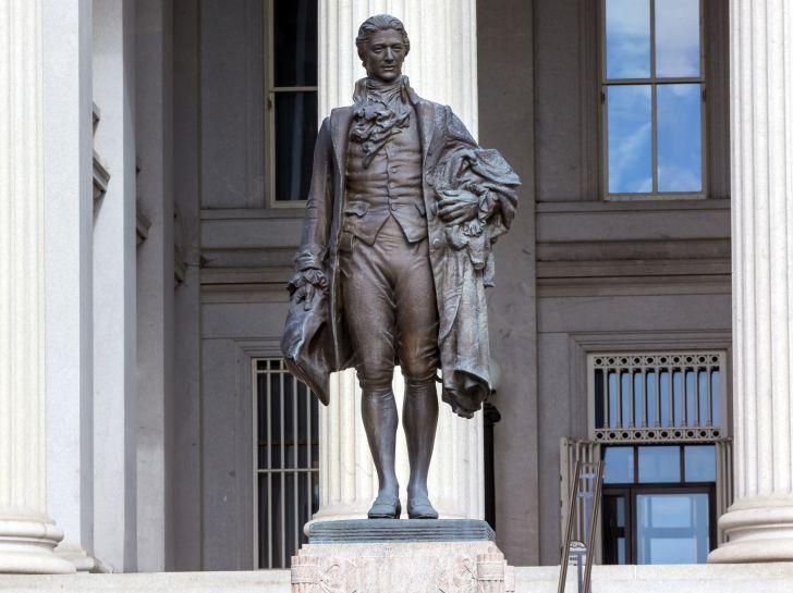 Statue of Alexander Hamilton.
