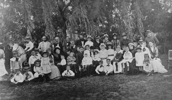 A photograph of Alexander Graham Bell and his Scott Circle School.
