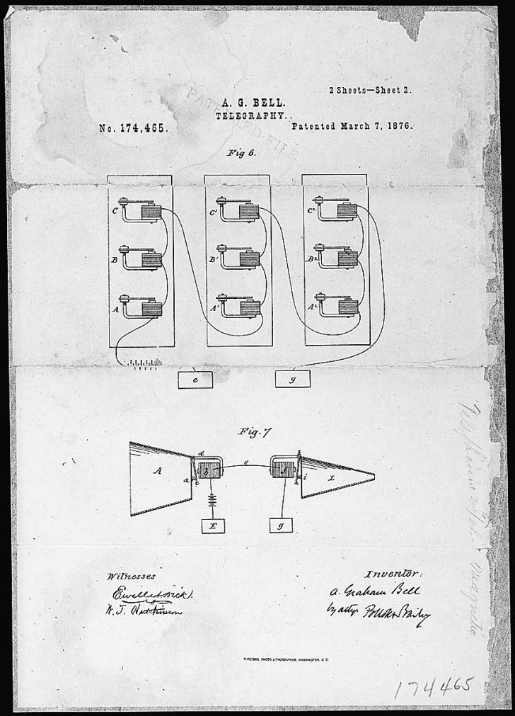 Alexander Graham Bell telephone patent drawing.