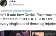 Someone Figured Out Derrick Rose Was on the Court for 3 Different Shocking NBA Leg Injuries