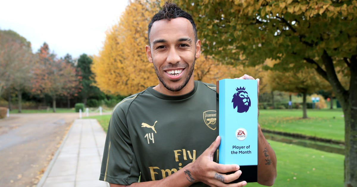 Arsenal Star Pierre-Emerick Aubameyang Named Premier League Player of the Month for October