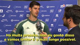 VÍDEO: Courtois aponta principal diferença entre jogar no Chelsea e no Real Madrid