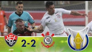 No Barradão, Vitória e Corinthians empatam com direito a fim de jogo eletrizante