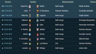 Todos los partidos y horarios de la 33ª jornada de LaLiga Santander