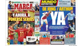 La victoria de la Roja y los refuerzos culés en las portadas