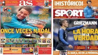 El triunfo de Rafa Nadal en Roland Garros y la decisión de Griezmann, en portadas