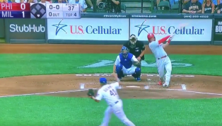 VIDEO: Watch Rhys Hoskins Obliterate a Homer to Draw Even With Milwaukee