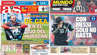 El discutido De Gea y el fiasco de Argentina, protagonistas de las portadas