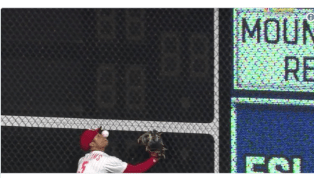 VIDEO: Nick Williams Drilled in Face With Baseball on Outfield Carom and Forced to Leave Game