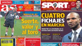 La previa del España-Irán y la presentación de Abidal en el Barça, protagonistas de las portadas