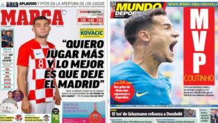 El descontento Kovacic y el 'MVP' Coutinho, protagonistas de las portadas