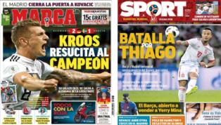 El golazo de Kroos que salvó a Alemania y la batalla por Thiago, protagonistas de las portadas