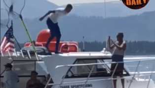 VIDEO: Steph Curry Jumps Off a Boat After Losing Golf Bet With His Dad