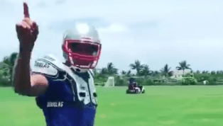 VIDEO: Watch Tom Brady Complete Awesome Trick Pass to Receiver on Golf Cart