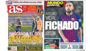 El fichaje de Vidal y el Madrid - Juve en las principales portadas deportivas