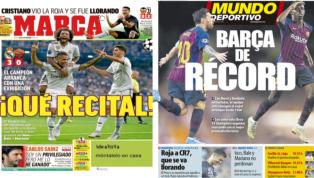 El recital del Madrid y el Barça de récord, protagonistas de las portadas