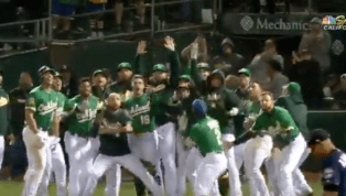VIDEO: A's Celebrate Like Maniacs After Khris Davis Walk-Off Home Run