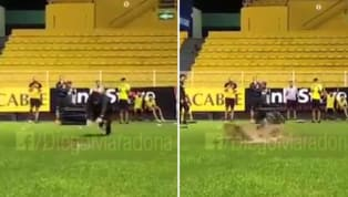 VIDEO: Diego Maradona's Hilarious Dive Into a Muddy Puddle After Training Session