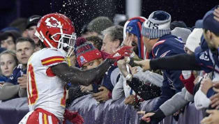 Patriots Fan Hit With Two Criminal Charges for Throwing Beer at Tyreek Hill