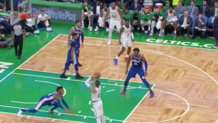 VIDEO: Jayson Tatum Drains Killer Step Back Jumper Just Before Half