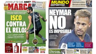 El posible regreso de Neymar y la recuperación de Isco en las portadas
