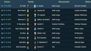 Todos los partidos, horarios y TV de la 9ª jornada de LaLiga Santander