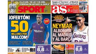 El regreso de Neymar a La Liga y la gran oferta por Malcom en las portadas