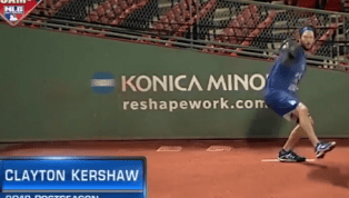 VIDEO: Clayton Kershaw Already Warming Up at Fenway Before World Series Game 1