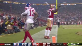 GENIAL: Odell Beckham Jr. atrapa el ovoide para un TD de 20 yardas y lo celebra con un pícaro baile
