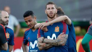 La vacilada de Sergio Ramos imitando a Cristiano Ronaldo en el entrenamiento