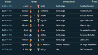 Todos los partidos y horarios de la 35ª jornada de LaLiga Santander