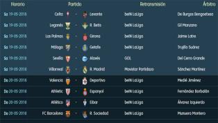 Todos los partidos y horarios de la última jornada de LaLiga Santander