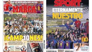 El adiós de Iniesta y del Niño Torres, protagonistas en las portadas
