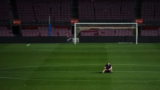 PHOTOS: Andres Iniesta Camps Out in Centre Circle After Final Ever Appearance for Barcelona