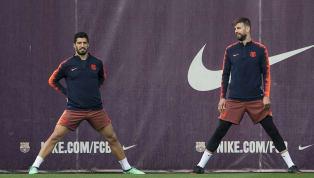 La reacción de Piqué al ver el entrenamiento de Luis Suárez