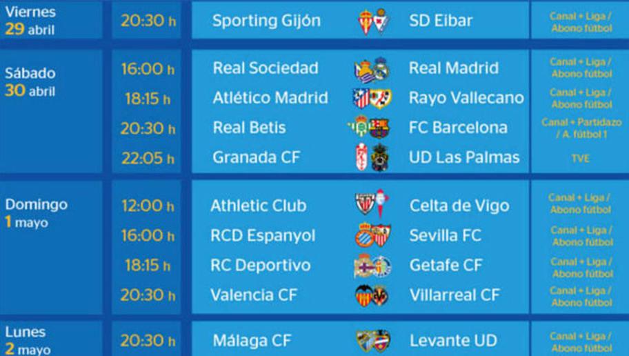 Todos los partidos y horarios de la jornada 36 de la Liga BBVA | 90min