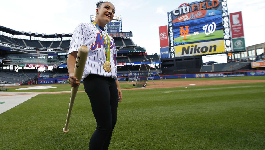 olympic gymnast laurie hernandez throws acrobatic first pitch at
