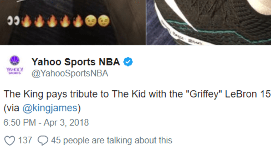 27b8f8cafb7 ... hot lebron pays tribute to ken griffey jr. with sick custom lebron 15s  ff5ed 6f207