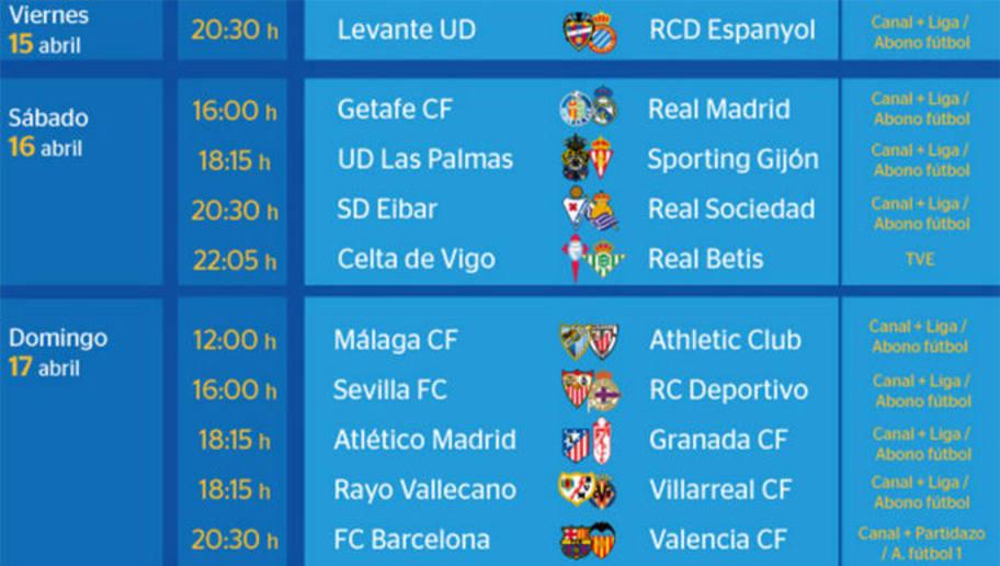 Todos los partidos y horarios de la jornada 33 de la Liga BBVA   90min