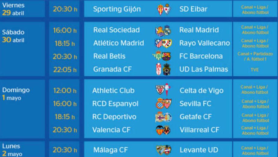 Todos los partidos y horarios de la jornada 36 de la Liga BBVA   90min