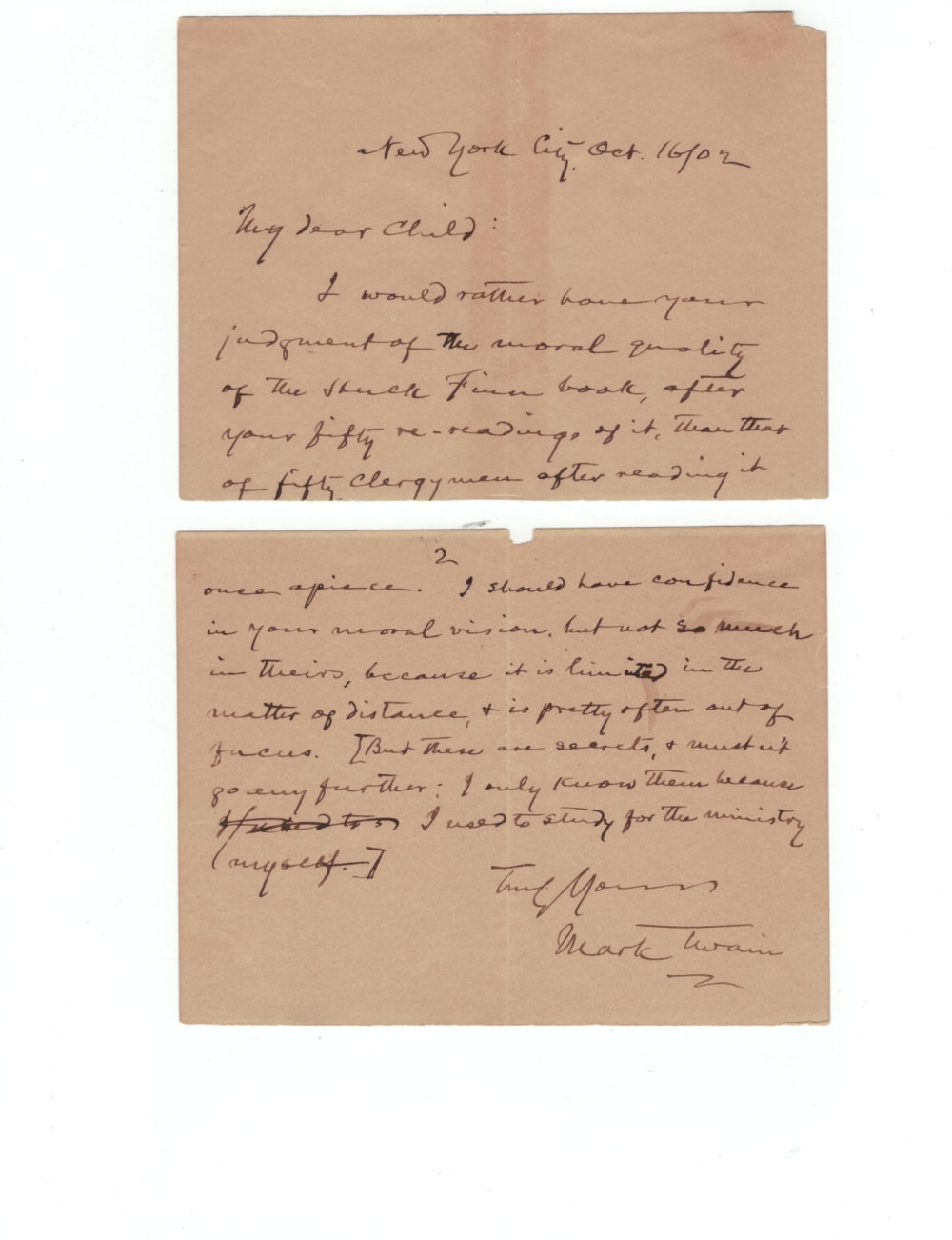 2. A LETTER MARK TWAIN WROTE TO A 12-YEAR-OLD FAN