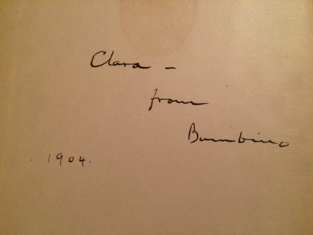 4. A BOOK INSCRIBED TO TWAIN'S DAUGHTER, CLARA, BY HER BELOVED CAT BAMBINO